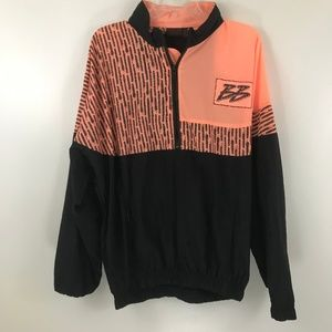VTG Bristol Bay Black Orange Neon Windbreaker L